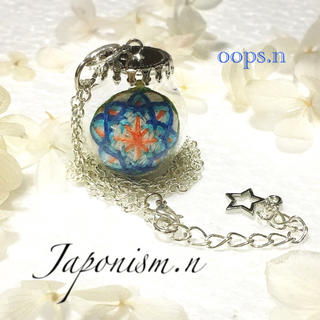 Japonism.n.23 びん細工てまり ガラスドーム 夜空 手毬 ネックレス(ネックレス)