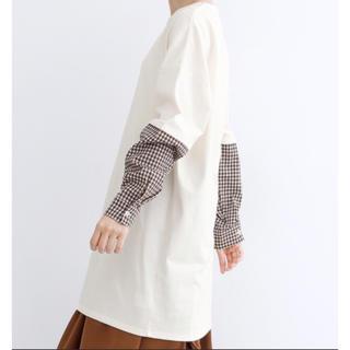 merlot - メルロー merlot チェック ドッキングシャツ ロングTシャツ 新品 タグ付