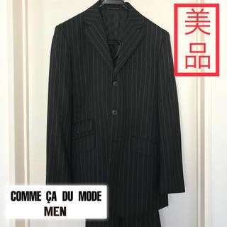 コムサメン(COMME CA MEN)のコムサデモードメン 三つボタンスーツ 黒チョークストライプ(セットアップ)