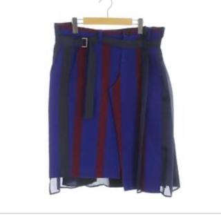 サカイ(sacai)のsacai 2018awストライプ巻きスカート(ひざ丈スカート)