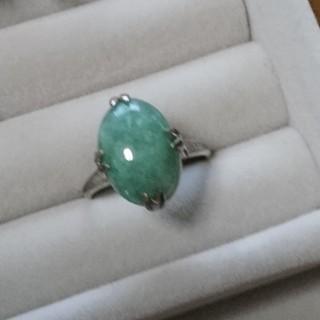124 昭和レトロ silver950 緑石 リング 千本透かし ヴィンテージ(リング(指輪))