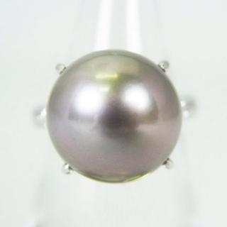 Pt900 南洋黒蝶真珠(ブラックパール)リング 6.5号 [g137-10] (リング(指輪))