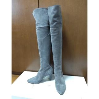 エイリアス(ALIAS)の美品 エイリアス ALIAS ニーハイロングブーツ 36 スエード ライトグレー(ブーツ)