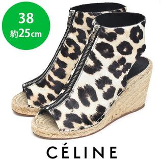 celine - ほぼ新品❤️セリーヌ ヒョウ柄 ハラコ ウェッジサンダル 38(約25cm)