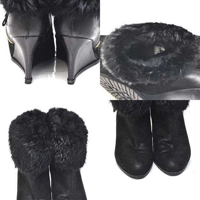 Sergio Rossi(セルジオロッシ)のセルジオロッシ ファー ウェッジソール ショートブーツ 37(約24cm) レディースの靴/シューズ(ブーツ)の商品写真