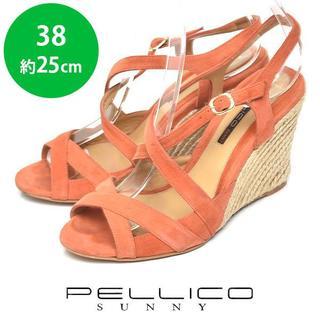 ペリーコ(PELLICO)のペリーコサニー クロス ストラップ ウェッジソール サンダル 38(約25cm)(サンダル)