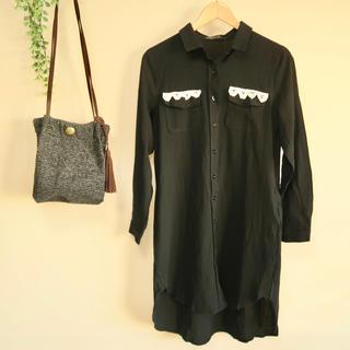 コットンリネン Aライン レース付きロングシャツ 黒(シャツ/ブラウス(長袖/七分))