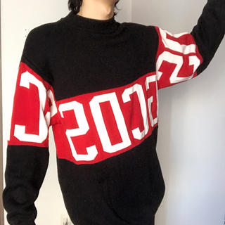 赤ラインセーター 黒 ブラック レッド ニット(ニット/セーター)