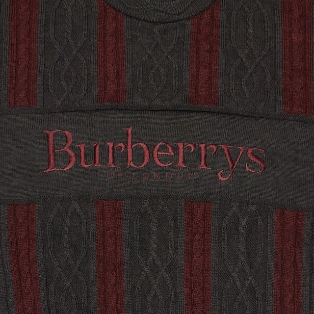 BURBERRY(バーバリー)のBURBERRYS ニット バーバリー ヴィンテージ ビッグロゴ ケーブルニット メンズのトップス(ニット/セーター)の商品写真