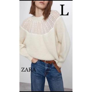 ザラ(ZARA)の【新品・未使用】ZARA レース付き セーター L(ニット/セーター)