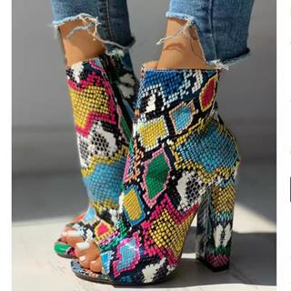 ZARA - ブーツ ブーティー オープントゥ パイソン柄 蛇柄 サンダル 靴