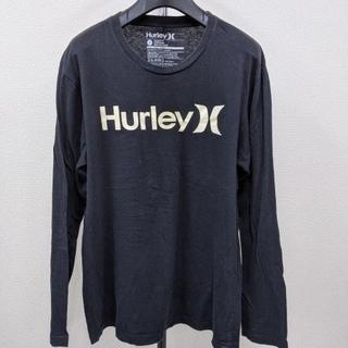 ハーレー(Hurley)の【ほぼ美品 夜光】HUrley  ロゴデザイン Tシャツ 長袖 メンズL 黒(Tシャツ/カットソー(七分/長袖))