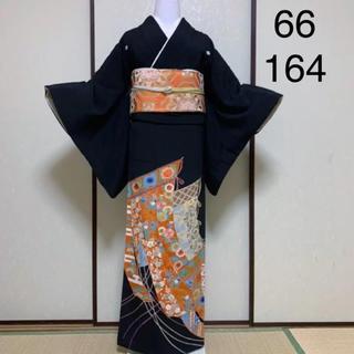 《刺繍•金駒刺繍•京友禅》御簾模様黒留袖(身幅広め)セット(着物)