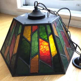 アンティーク ランプシェード ステンドグラス ビンテージ(天井照明)