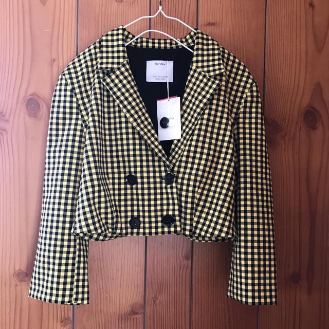 Bershka(ベルシュカ)のBershka 黄色チェックショートジャケット レディースのジャケット/アウター(テーラードジャケット)の商品写真