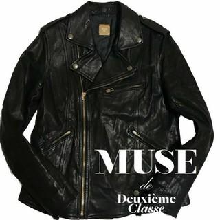ドゥーズィエムクラス(DEUXIEME CLASSE)のMUSU de DeuxiemeClasse レザーライダースジャケット(ライダースジャケット)