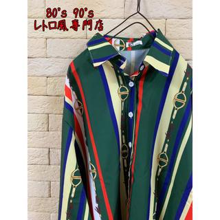2着限定◎オーバーサイズ 柄シャツ ストライプシャツ マルチカラー ユニセックス(シャツ)