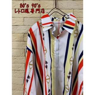 送料無料◎ストライプシャツ マルチカラー オーバーサイズ 柄シャツ ユニセックス(シャツ)