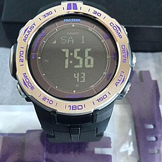 カシオ(CASIO)のCASIO プロトレック  PRW-3100-6 黒ベルト仕様&元の紫ベルト付(腕時計(デジタル))