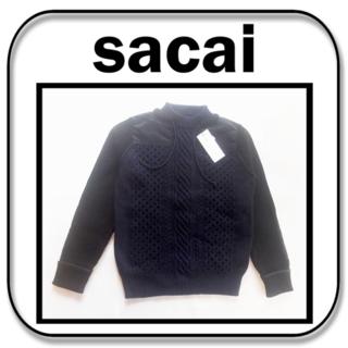 サカイ(sacai)のsacai  ウール ニット プルオーバー  NAVY/BLACK  2「M」(ニット/セーター)