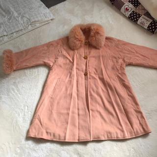 大きいサイズ 鮮やかオレンジ コート ウール&カシミヤ&アンゴラ フランス製(ロングコート)