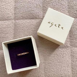アガット(agete)の【値下げ】agete ミル打ち3粒ダイヤモンド ピンキーリング YG(リング(指輪))