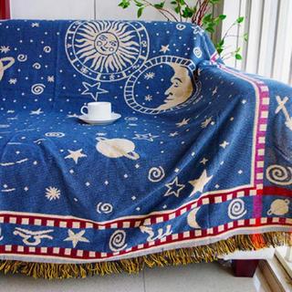 星座 星 夜空 北欧 フリンジ ソファーカバー ネイビー プラネタリウム(ソファカバー)