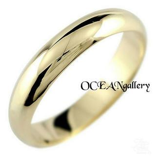 送料無料 13号 ゴールド サージカルステンレス シンプル甲丸リング 指輪(リング(指輪))