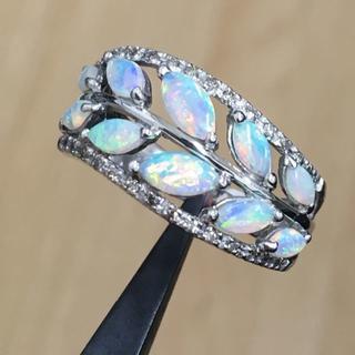 K18WG オパール 計0.90ct ダイヤモンド 計0.15ct リング(リング(指輪))