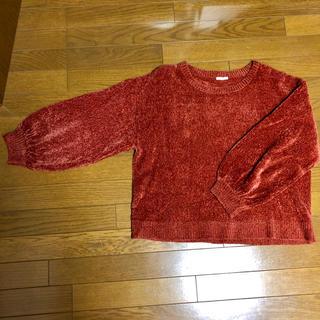 ジーユー(GU)のGU モールヤーンクルーネックセーター レッド XL(ニット/セーター)