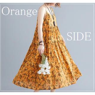 【XL~3XL】可愛くて大人っぽい小花柄☆ワンピース☆ゆったりサイズ☆オレンジ(ロングワンピース/マキシワンピース)