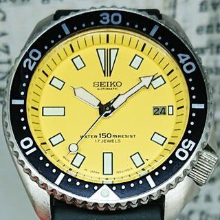 セイコー(SEIKO)のセイコー 7002 自動巻き 黄色文字盤 ダイバー 回転ベゼル メンズ 腕時計(腕時計(アナログ))