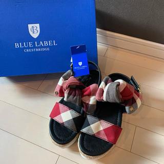 バーバリーブルーレーベル(BURBERRY BLUE LABEL)のブルーレーベル クレストブリッジ リボン厚底サンダル(サンダル)