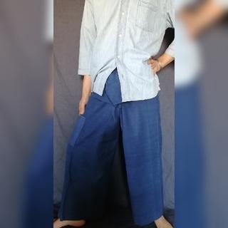 藍染 手織り 手縫い タイバンツ フィッシャーマンパンツ ハンドメイド(その他)