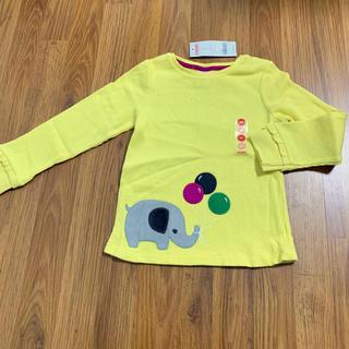 ジンボリー(GYMBOREE)の新品 ジンボリー ワッフルTシャツ 5T 110 ゾウさんアップリケ 黄色(Tシャツ/カットソー)