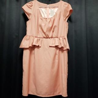 デイジーストア(dazzy store)のワンピース キャバドレス ペプラムドレス パフスリーブ サーモンピンク(ミニドレス)
