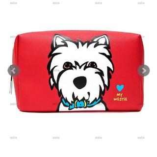 新品マークテトロコスメポーチ化粧メイク犬ウエスティ赤(ポーチ)