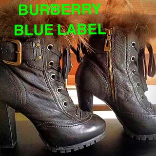 バーバリーブルーレーベル(BURBERRY BLUE LABEL)の送料無料ブルーレーベル定価8万ブーツ正規BURBERRY紐付き黒24cm(ブーツ)