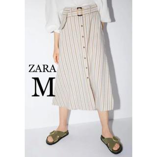 ザラ(ZARA)の【新品・未使用】ZARA ベルト付き ストライプ柄 スカートM(ひざ丈スカート)