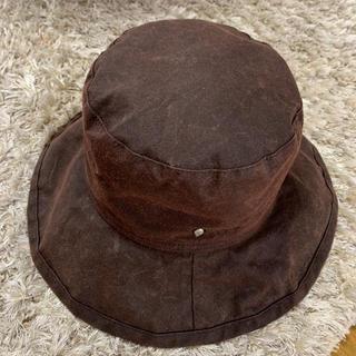 ヘレンカミンスキー(HELEN KAMINSKI)のヘレンカミンスキー オイルスキン 100%  帽子ハット 茶(ハット)