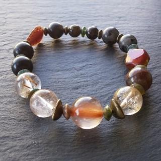 ゆきやま様専用「背中で魅せる」オーラライトとラルビカイトの天然石ブレスレット(ブレスレット/バングル)