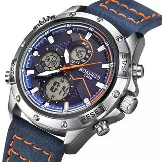 美麗 高級デジアナ3窓デュアルディスプレイ お洒落な革ベルト シルバー×ブルー(腕時計(デジタル))