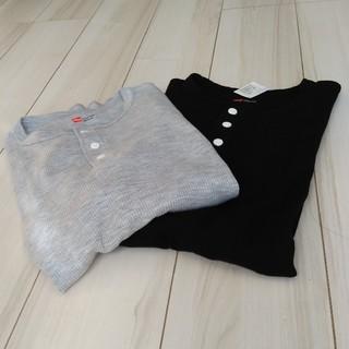 ヘインズ(Hanes)の◆新品未使用◆Hanes2枚セット サーマルTシャツ ヘンリーネック 黒グレーM(Tシャツ/カットソー(七分/長袖))