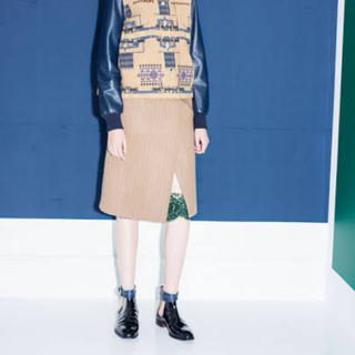 サカイ(sacai)のsacaiのウール×レースの異素材ミックススカート(ひざ丈スカート)