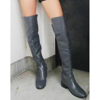 ジェイダ(GYDA)の新品未使用◆GYAD◆ジェイダ◆インヒールニーハイブーツ◆リブローヒール◆グレー(ブーツ)