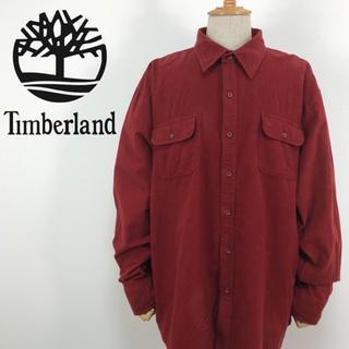 ティンバーランド(Timberland)のティンバーランド  刺繍ロゴ ビッグシルエット ワインレッド ネルシャツ(シャツ)
