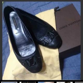 ルイヴィトン(LOUIS VUITTON)のモデルサイズ大きいサイズ レア 黒 正規品 ☻ ルイヴィトン バレエシューズ ☻(バレエシューズ)