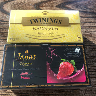 カルディ(KALDI)のJanatストロベリー紅茶とTWININGSアールグレイ(茶)