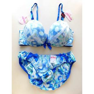 新品♥ブルー&ホワイト マーブル シフォンレース ブラ&ショーツセットD75(ブラ&ショーツセット)