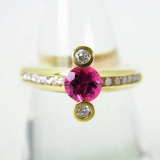 18K トルマリン(ルベライト) ダイヤモンドリング 15.5号[g139-7](リング(指輪))